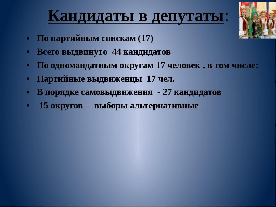 Кандидаты в депутаты: По партийным спискам (17) Всего выдвинуто  44 кандида...