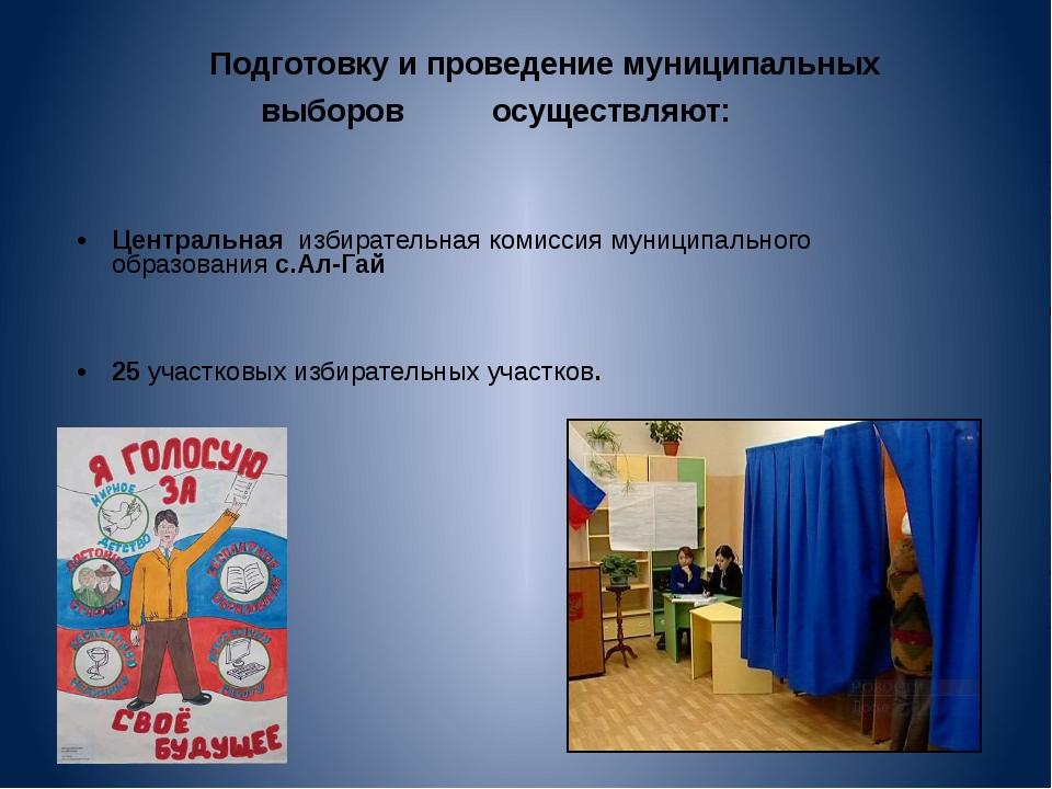 Подготовку и проведение муниципальных                         выборов...