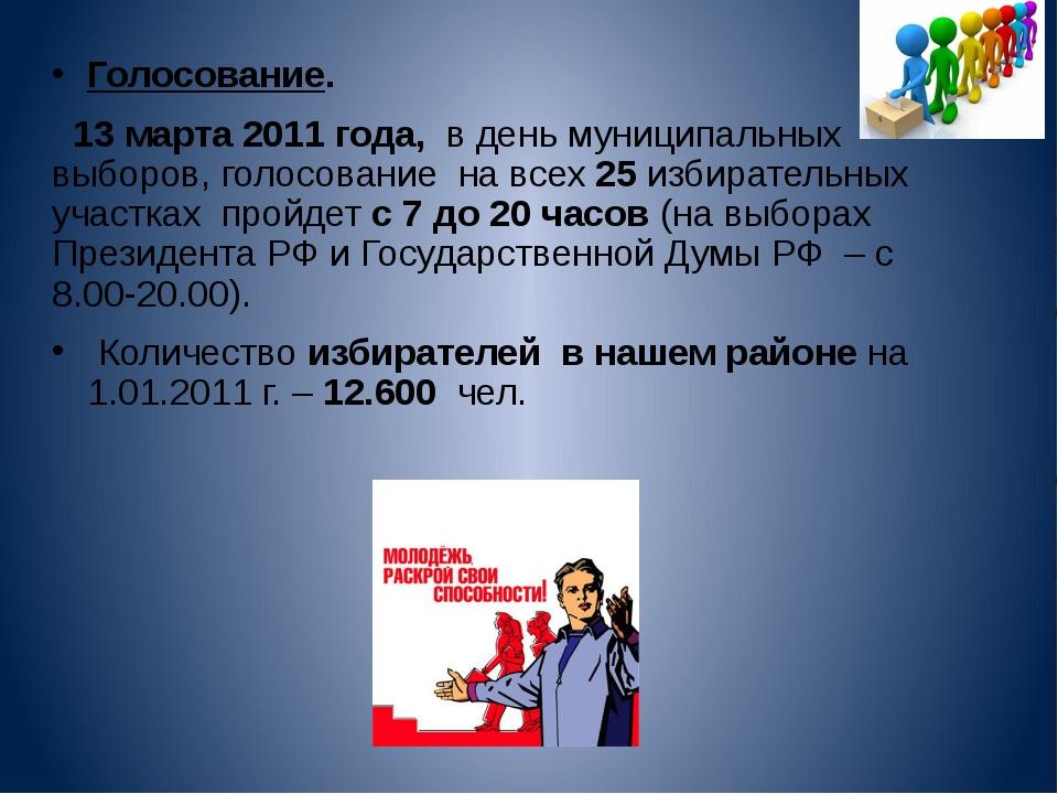 Голосование.   Голосование.     13 марта 2011 года,  в день муниципальных...