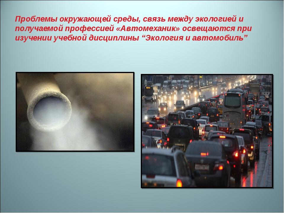 Проблемы окружающей среды, связь между экологией и получаемой профессией «Авт...