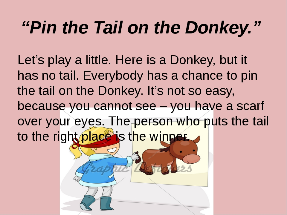 """Pin the Tail on the Donkey."" Let's play a little. Here is a Donkey, but it h..."