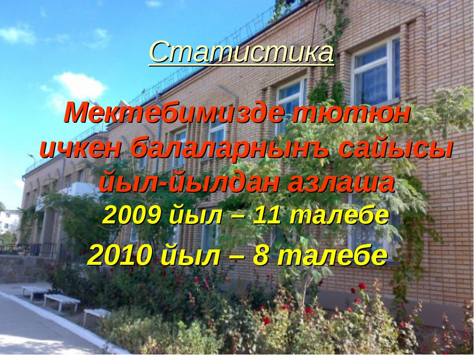 Статистика Мектебимизде тютюн ичкен балаларнынъ сайысы йыл-йылдан азлаша 2009...