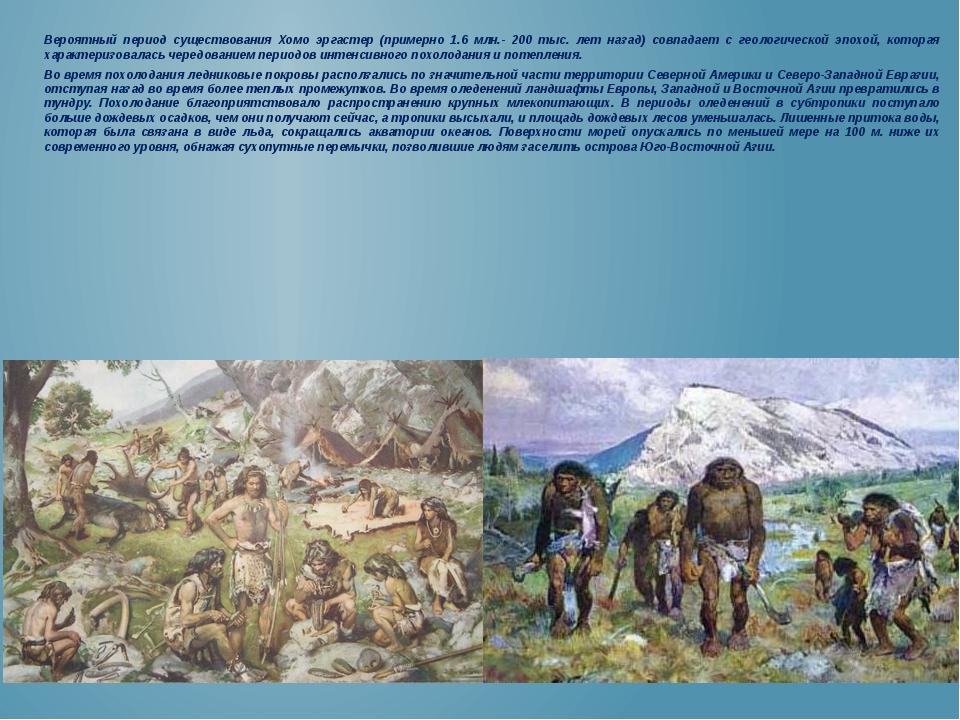 Вероятный период существования Хомо эргастер (примерно 1.6 млн.- 200 тыс. лет...