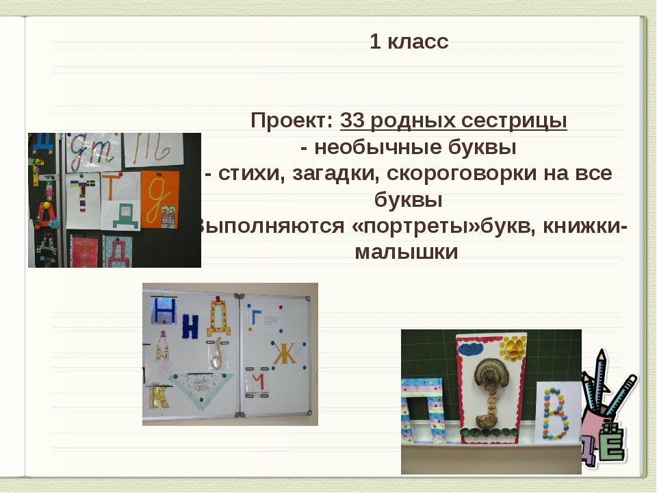 1 класс Проект: 33 родных сестрицы - необычные буквы - стихи, загадки, скорог...