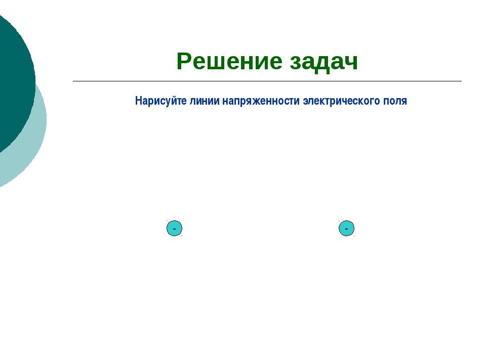 Решение задач Нарисуйте линии напряженности электрического поля - -