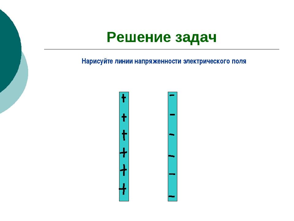 Решение задач Нарисуйте линии напряженности электрического поля