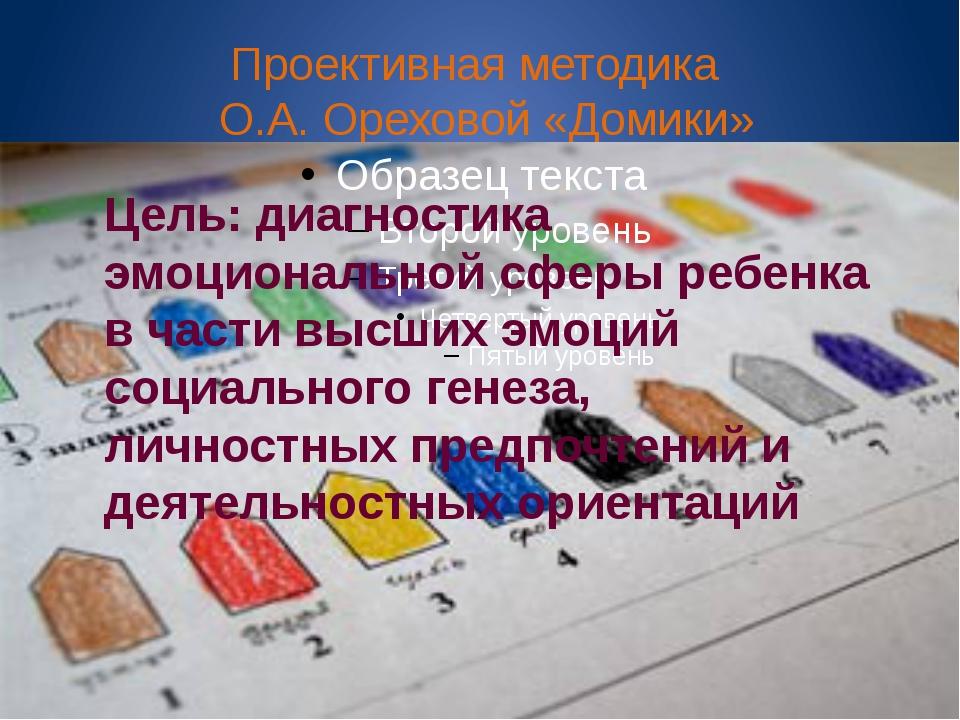 Проективная методика О.А. Ореховой «Домики» Цель: диагностика эмоциональной с...