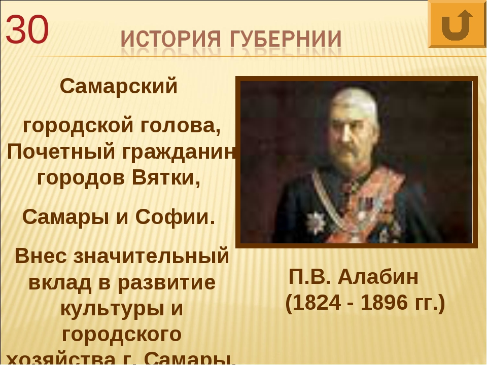 30 Самарский городской голова, Почетный гражданин городов Вятки, Самары и Соф...