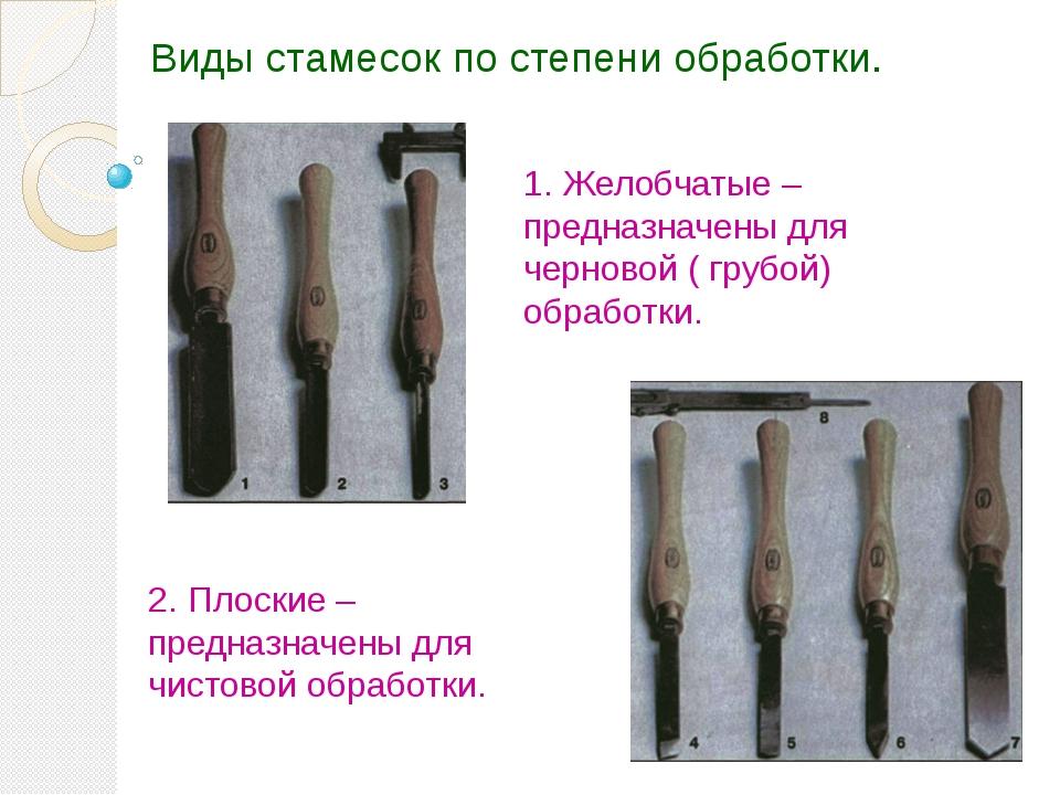 Виды стамесок по степени обработки. 1. Желобчатые – предназначены для черново...
