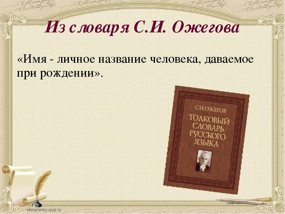 Картинки словаря имен