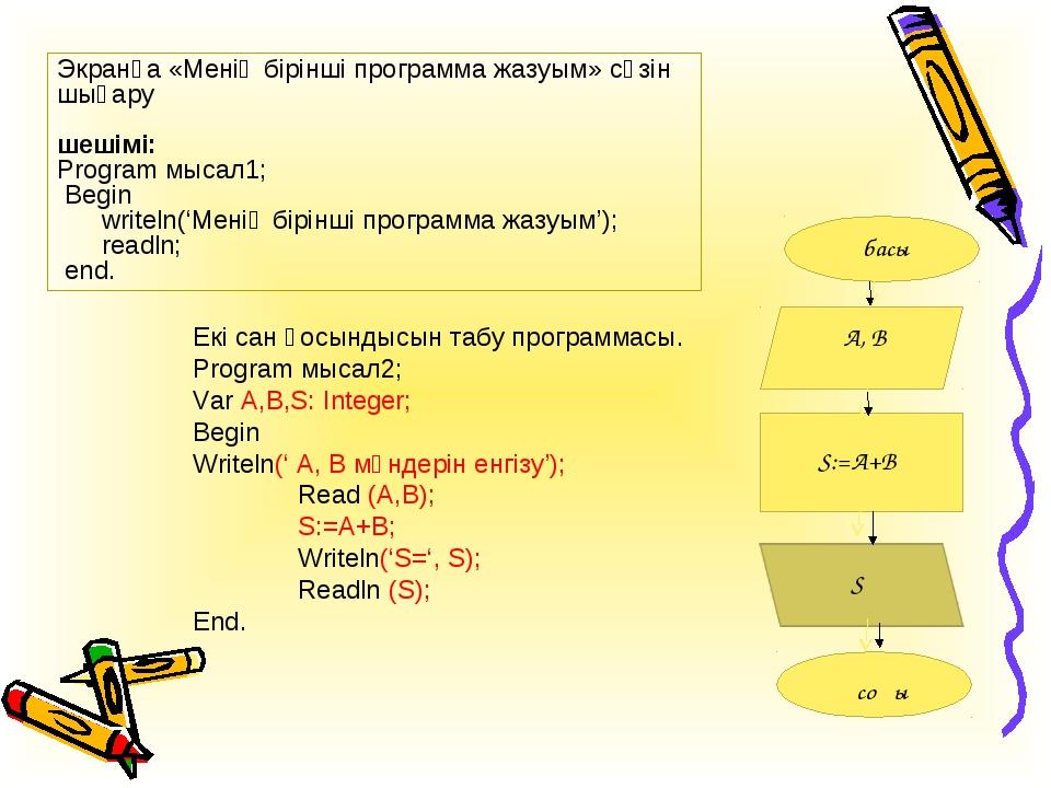 Экранға «Менің бірінші программа жазуым» сөзін шығару шешімі: Program мысал1;...