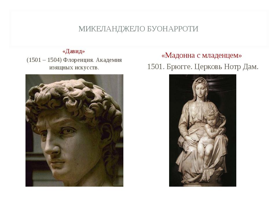 МИКЕЛАНДЖЕЛО БУОНАРРОТИ «Давид» (1501 – 1504) Флоренция. Академия изящных иск...