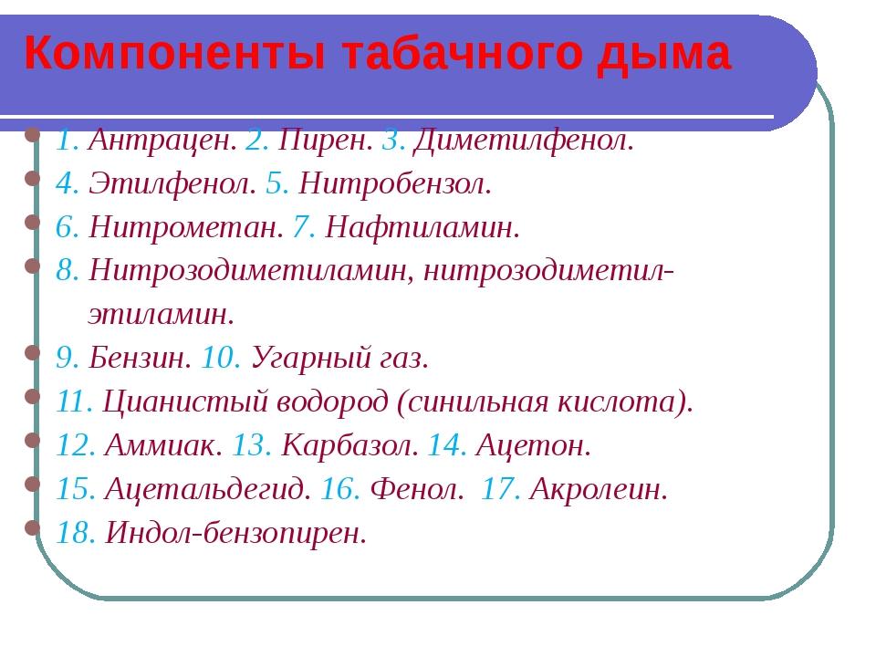 Компоненты табачного дыма 1. Антрацен. 2. Пирен. 3. Диметилфенол. 4. Этилфено...