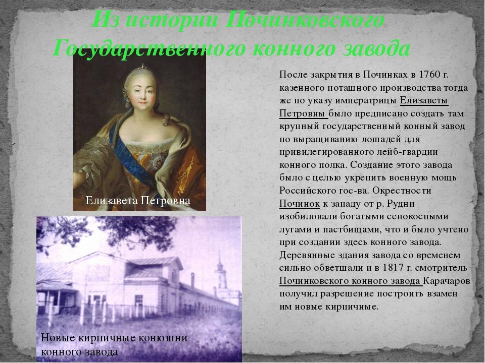 Из истории Починковского Государственного конного завода После закрытия в По...