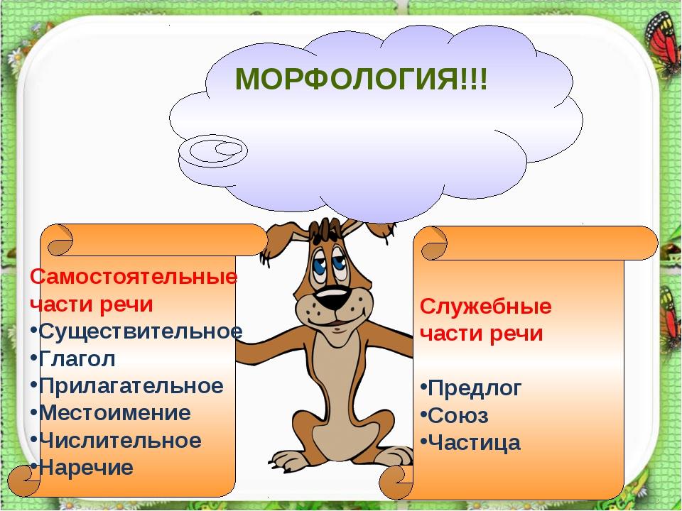 МОРФОЛОГИЯ!!! Самостоятельные части речи Существительное Глагол Прилагательно...