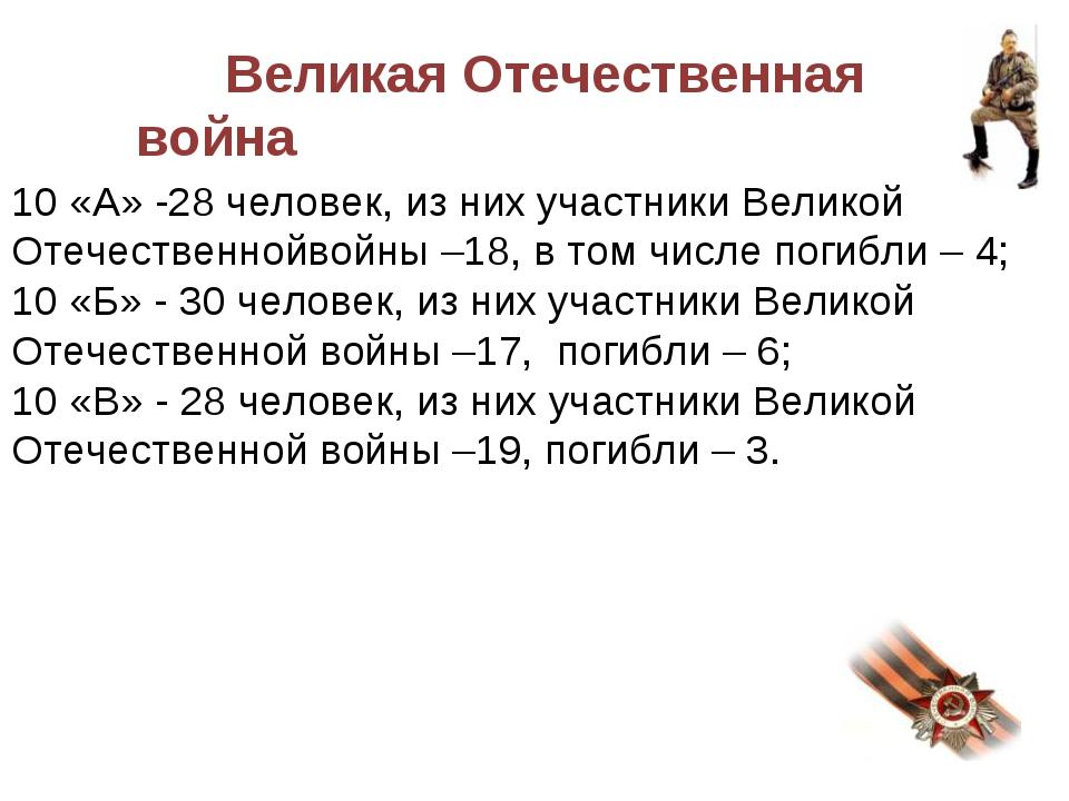 Великая Отечественная война 10 «А» -28 человек, из них участники Великой Оте...
