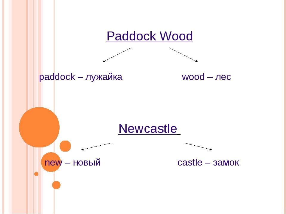 Paddock Wood paddock – лужайка wood – лес Newcastle new – новый castle – замок