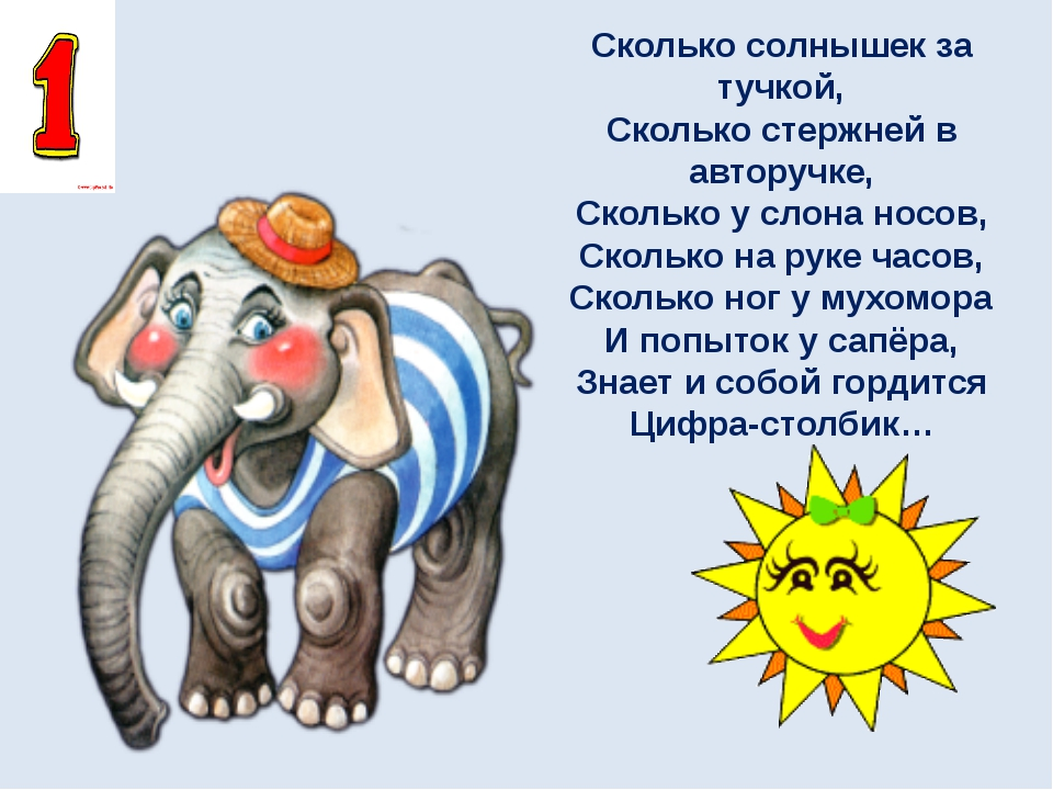 Сколько солнышек за тучкой, Сколько стержней в авторучке, Сколько у слона нос...