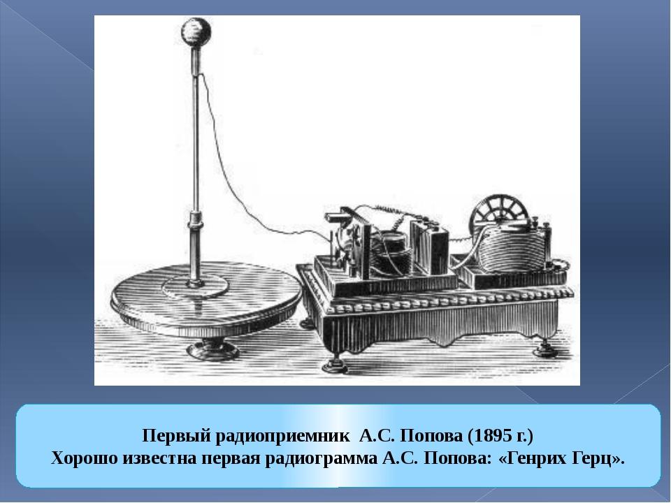 Первый радиоприемник А.С. Попова (1895 г.) Хорошо известна первая радиограмма...