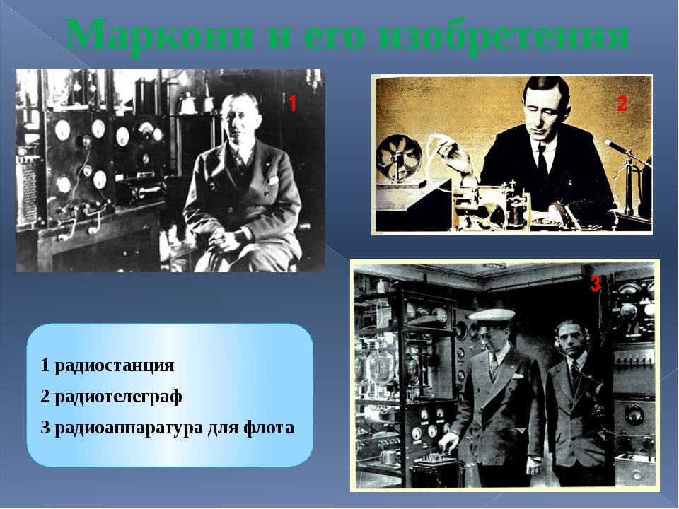 1 2 3 Маркони и его изобретения 1 радиостанция 2 радиотелеграф 3 радиоаппарат...