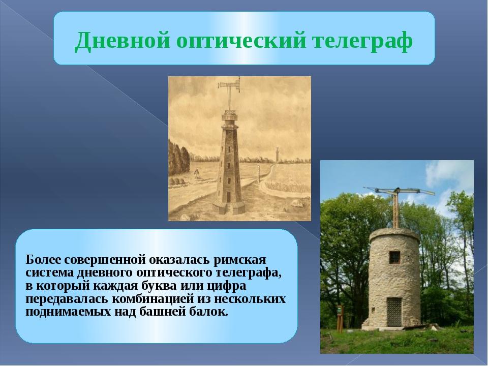 Дневной оптический телеграф Более совершенной оказалась римская система дневн...