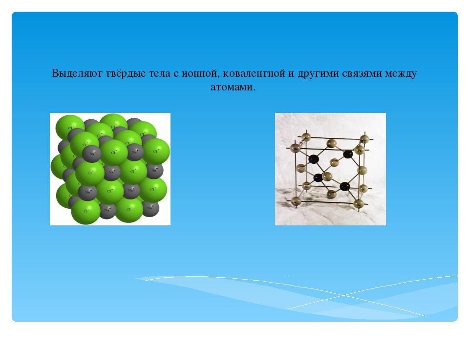 Выделяют твёрдые тела сионной,ковалентной и другими связями между атомами.