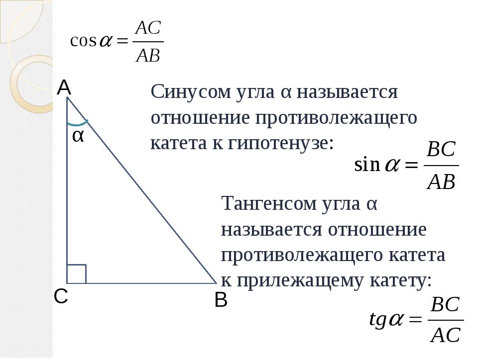 Синусом угла α называется отношение противолежащего катета к гипотенузе: Танг...