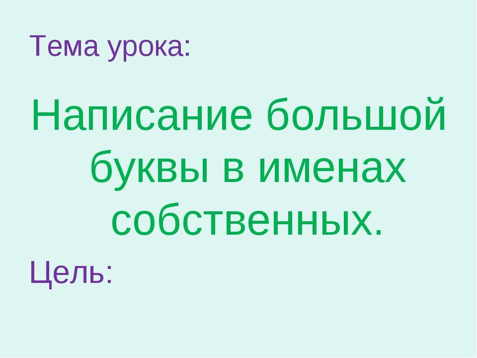 Тема урока: Написание большой буквы в именах собственных. Цель: