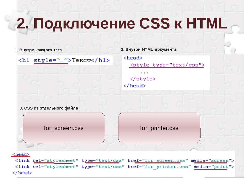 2. Подключение CSS к HTML 1. Внутри каждого тега 2. Внутри HTML-документа 3....