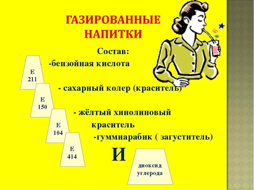 Состав: - -бензойная кислота - сахарный колер (краситель) - жёлтый хинолиновы...