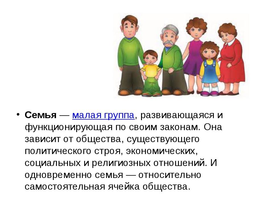 Семья — малая группа, развивающаяся и функционирующая по своим законам. Она з...