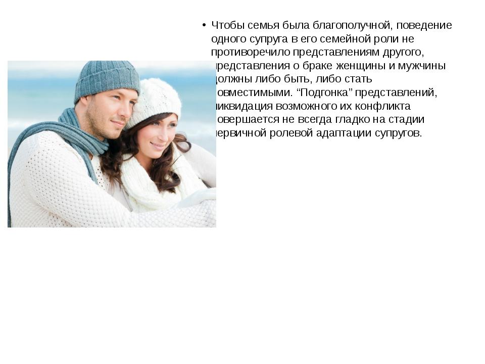 Чтобы семья была благополучной, поведение одного супруга в его семейной роли...