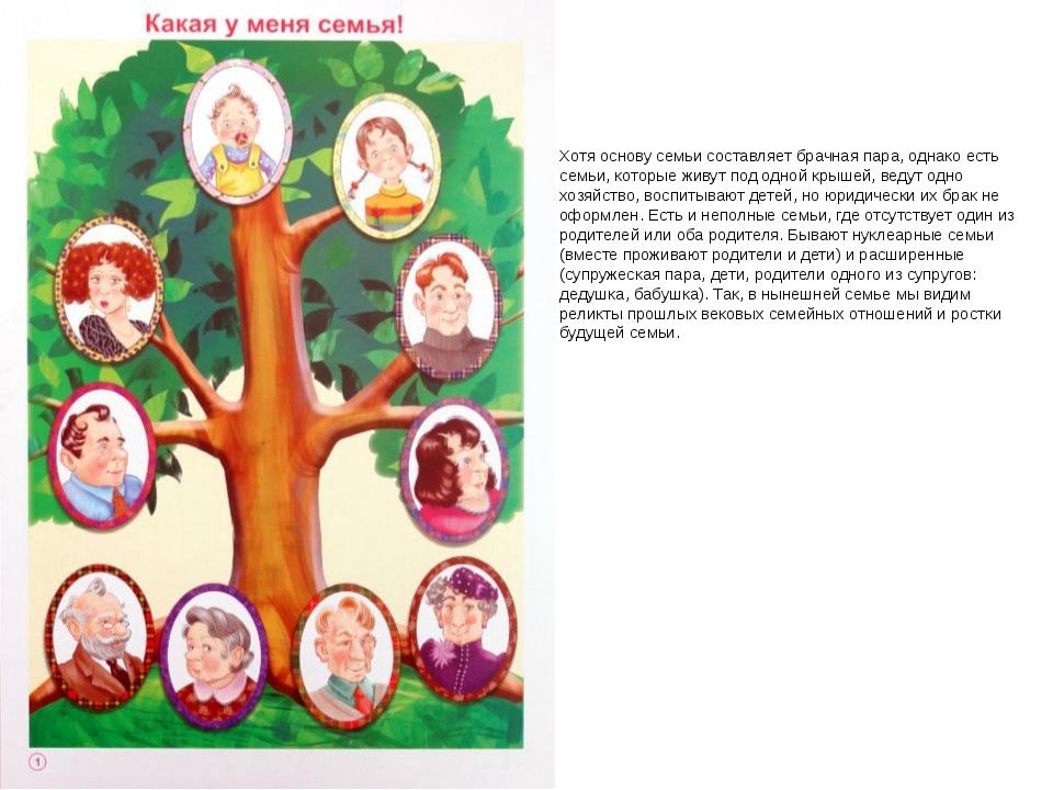 Хотя основу семьи составляет брачная пара, однако есть семьи, которые живут п...