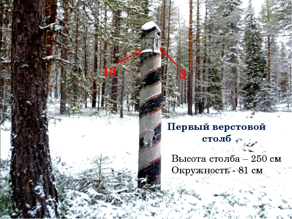 Первый верстовой столб Высота столба – 250 см Окружность - 81 см 13 3