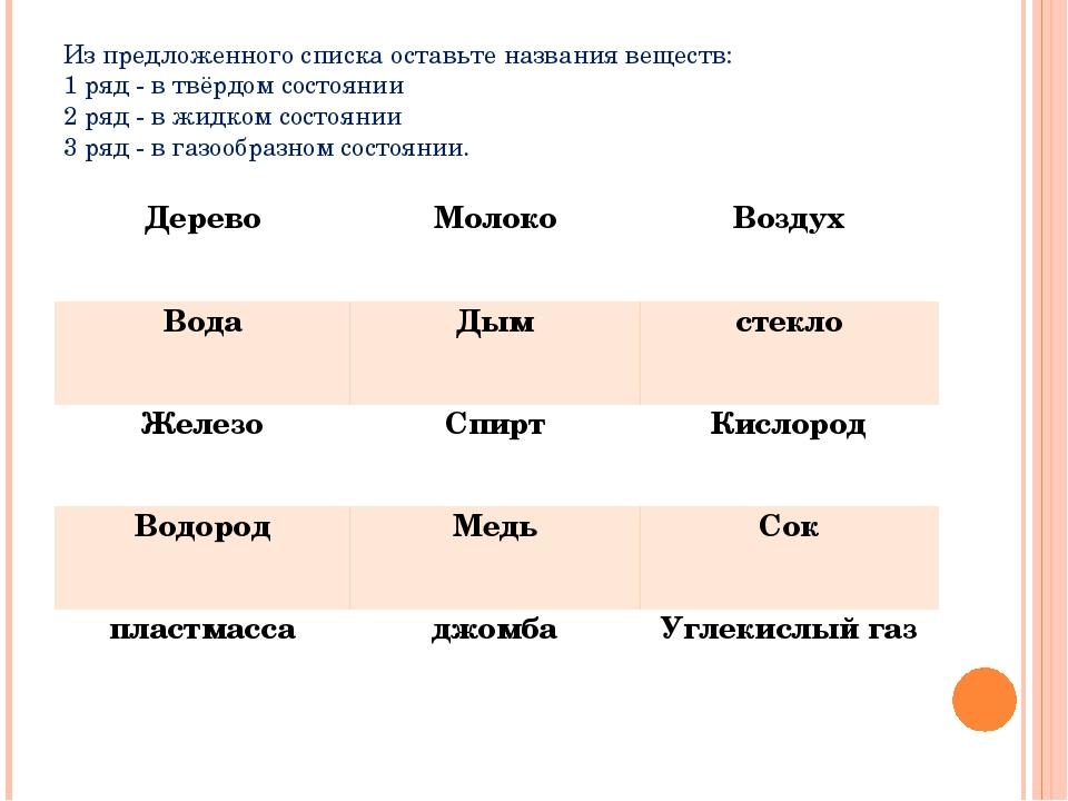 Из предложенного списка оставьте названия веществ: 1 ряд - в твёрдом состояни...