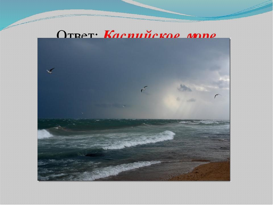 Ответ: Каспийское море