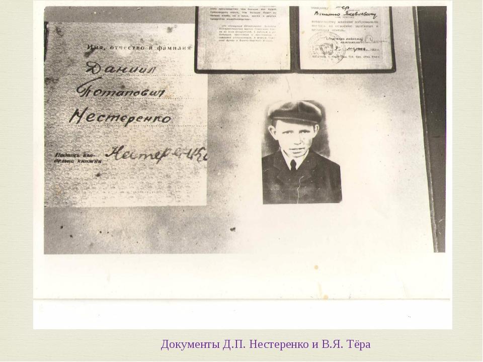 Документы Д.П. Нестеренко и В.Я. Тёра 