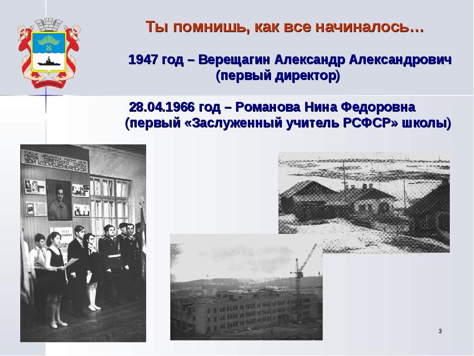 * Ты помнишь, как все начиналось… 1947 год – Верещагин Александр Александрови...