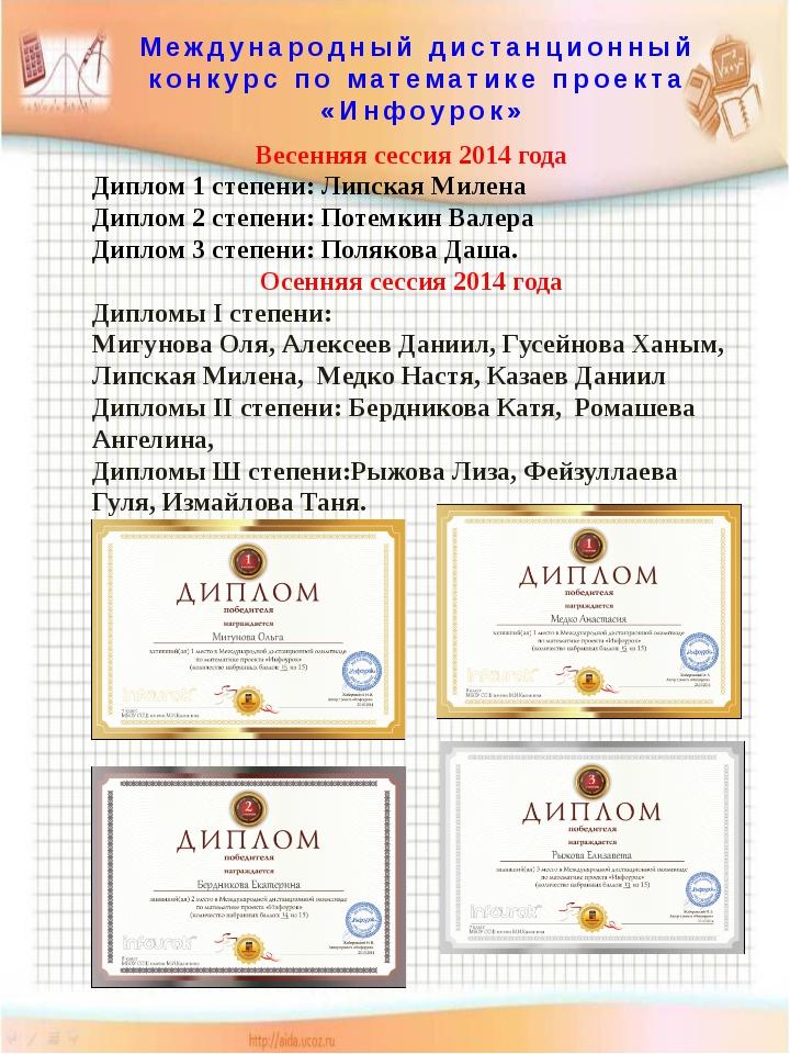 Международный дистанционный конкурс по математике проекта «Инфоурок» Весенняя...
