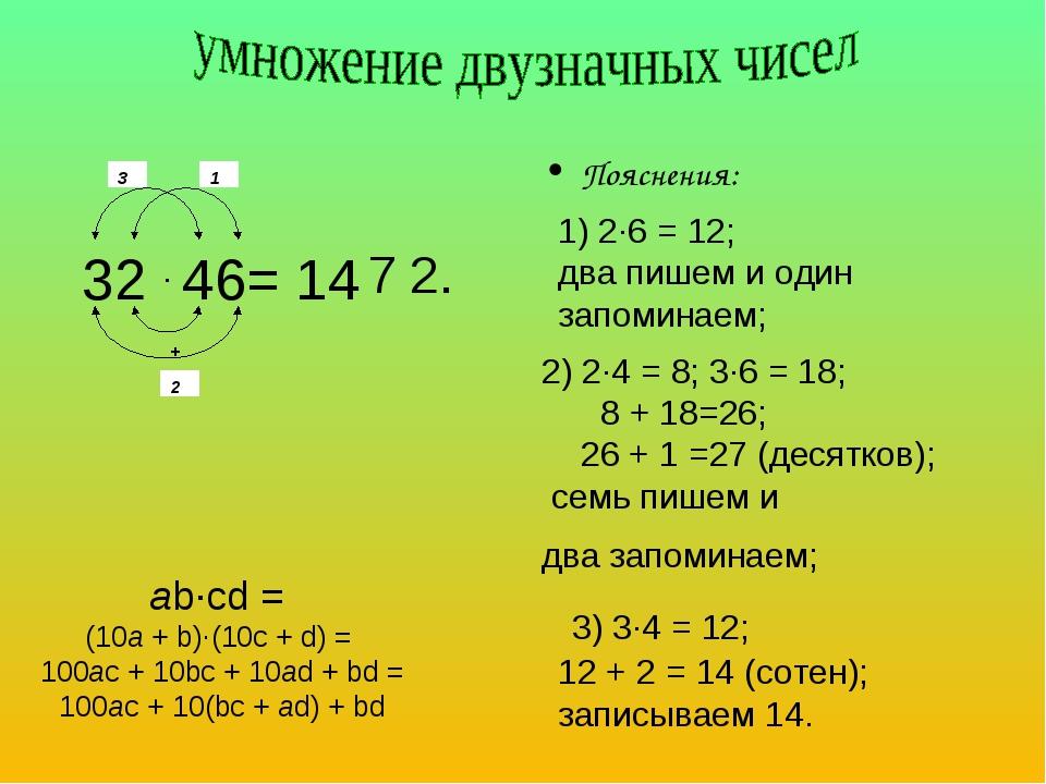 Пояснения:  ab·cd = (10a + b)·(10c + d) = 100ac + 10bc + 10ad + bd = 100ac +...