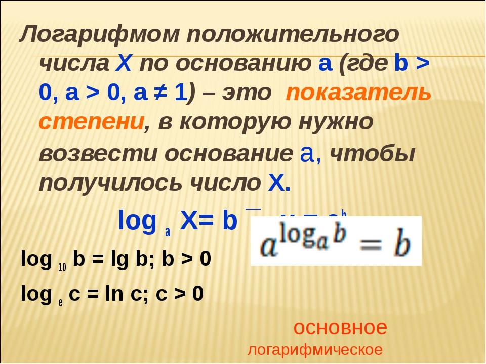 Логарифмом положительного числа Х по основанию a (где b > 0, a > 0, a ≠ 1) –...