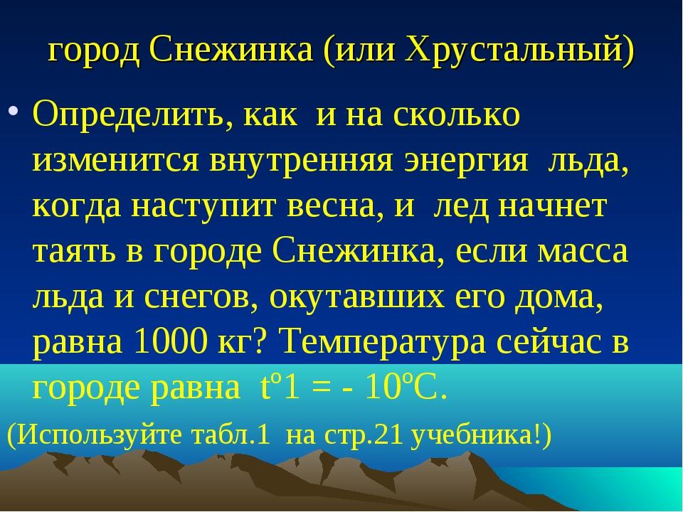 город Снежинка (или Хрустальный) Определить, как и на сколько изменится внутр...