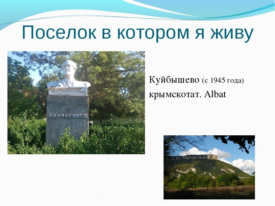 Поселок в котором я живу Куйбышево (с 1945 года) крымскотат. Albat