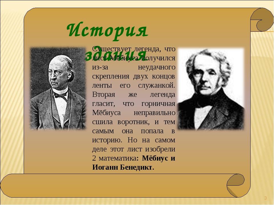 История создания * Существует легенда, что лист Мёбиуса получился из-за неуд...