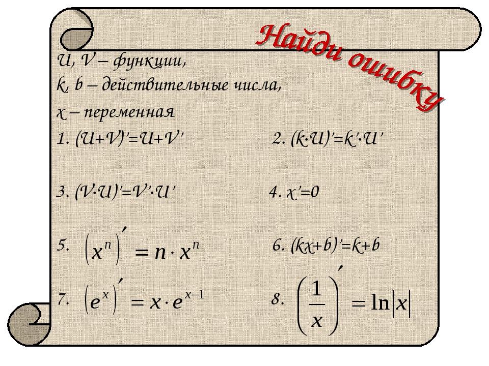 U, V – функции, k, b – действительные числа, х – переменная (U+V)'=U+V' 2. (k...