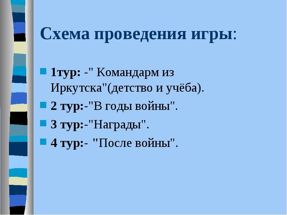 """Схема проведения игры: 1тур: -"""" Командарм из Иркутска""""(детство и учёба). 2 ту..."""
