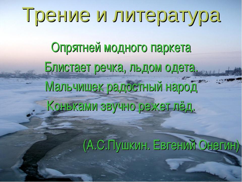 Трение и литература Опрятней модного паркета Блистает речка, льдом одета. Мал...