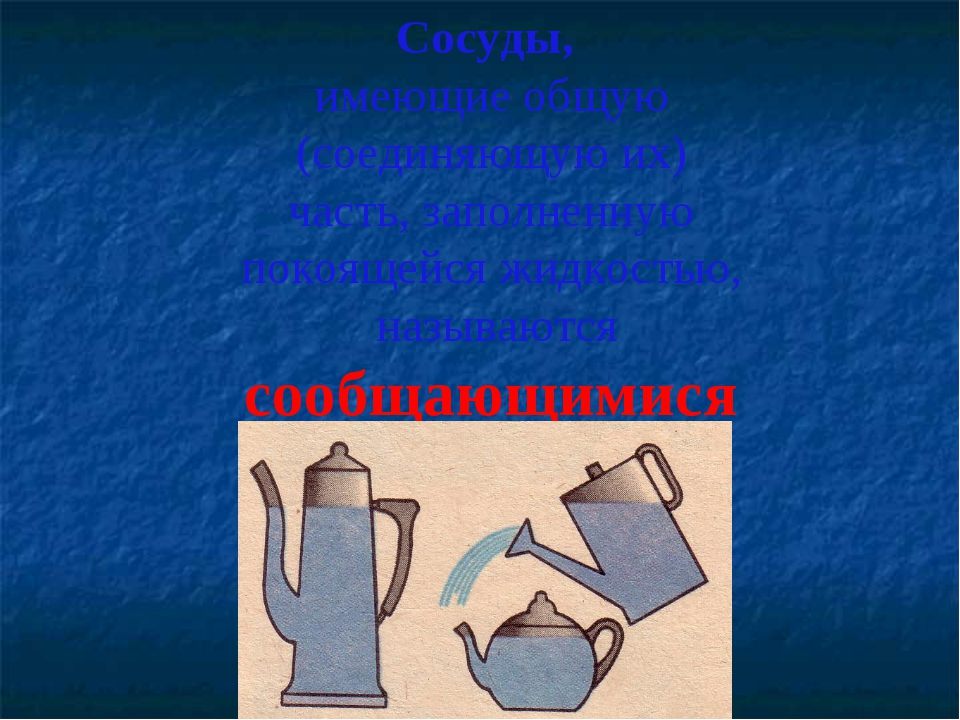 Сосуды, имеющие общую (соединяющую их) часть, заполненную покоящейся жидкость...