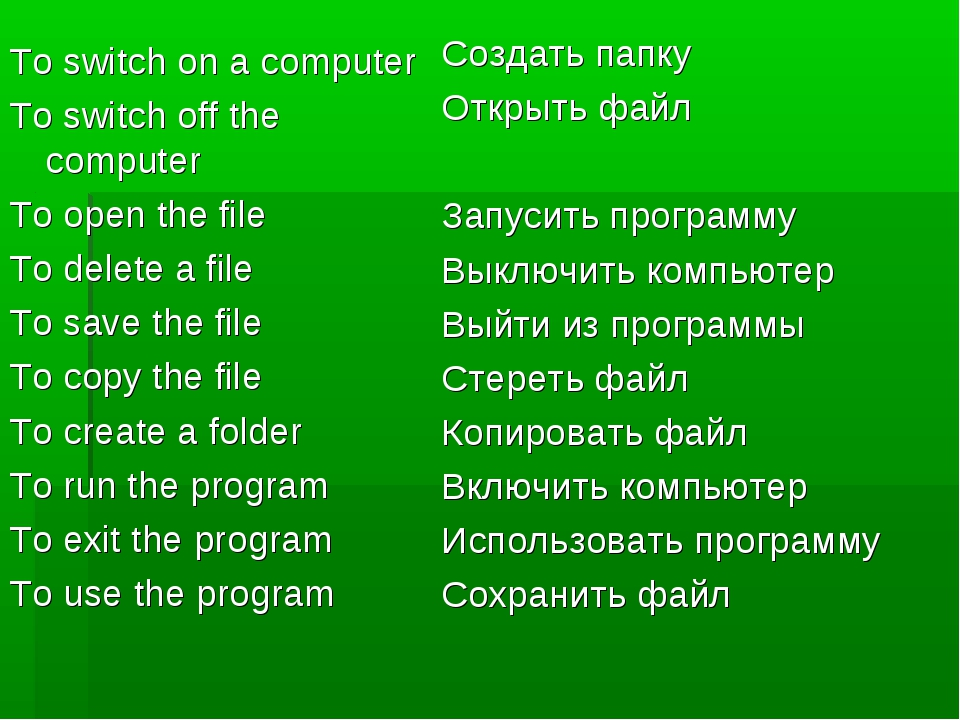 To switch on a computer To switch off the computer To open the file To delete...