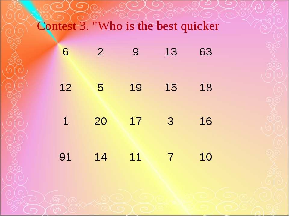 """Contest 3. """"Who is the best quicker 6 2 9 13 63 12 5 19 15 18 1 20 17 3 16 91..."""